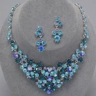 Aqua Teal Blue Crystal Rhinestone V Style Formal Silver Tone Chunky Necklace Set Elegant Costume Jewelry Bridal Necklace Set, Bridal Jewelry Sets, Wedding Jewelry, Bridal Jewellery, Chunky Jewelry, Jewelry Necklaces, Chain Earrings, Bridesmaid Jewelry, Blue Crystals