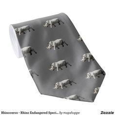 Rhinoceros - Rhino Endangered Species Tie