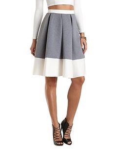 This is so cute and classy!  Pleats, combined with the high-rise waist, are very flattering on curvy bodies. Color Block Full Midi Skirt: Charlotte Russe