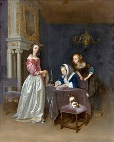 Curiosity 1660 by Gerard ter Borch the Younger   Eloquent letter writing—in Dutch and French—flourished in the Netherlands during the prosperous decades of the 1650s and 1660s. In this celebrated picture, the young woman to the left, wearing one of the Ter Borch's spectacular satin skirts, has received a letter from an admirer. Her older companion brings a steadier hand and heart to the task of answering gracefully. One or two of ... click image to read more.