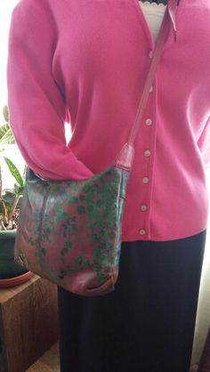 "Hand painted pink and green ,genuine leather shoulder bag. Plesase vist ""VisionistaV"" on Etsy for more hand crafted and painted ""Urban Art Wear"" and custom made wearable art! Thanks for viewing."