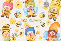 Bee Clown Watercolor Clipart DIY Bundle  #Bee #Clown #Watercolor #Clipart #DIY #Bundle #Cartoon #Birthday #Daisy #Doodle #Honey