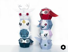 Stackable paper toys / paper crafts - DIY + free printable