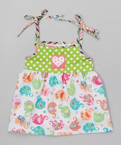 This Green Elephant Tie Babydoll Top - Toddler & Girls by Tutu & Lilli is perfect! #zulilyfinds