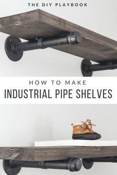 How to Build DIY Industrial Galvanized Pipe Shelves Do you love the look of those industrial pipe shelves? This step by step tutorial will show you how to create DIY pipe shelves at home. Galvanized Pipe Shelves, Diy Pipe Shelves, Industrial Pipe Shelves, Industrial House, Shelves With Pipes, Wall Brackets For Shelves, Shelf With Pipe, Plumbers Pipe Shelving, Industrial Brackets