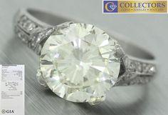 Ladies Art Deco Platinum 3.28ct Round Brilliant Diamond Engagement Ring GIA VVS2