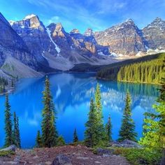 365 WONDERS OF THE WORLD: #46  In the beautiful Canadian Rockies lies the dazzling Moraine Lake, in Banff National Park. This glacier-fed lake is situated in the beautiful Valley Of The Ten Peak and what a site it is to behold   Read more here>> http://www.travelstart.co.za/lp/canada/flights  #365wondersoftheworld #canada