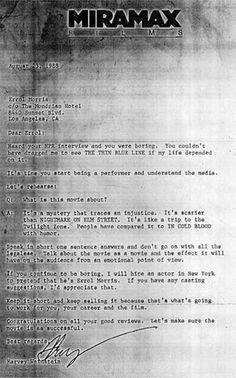 Harvey Weinstein's letter to Errol Morris -- http://heidisaman.tumblr.com/day/2013/07/03