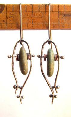 Earrings  Sterling Silver  Copper  Rivet  Hoop  by rmddesigns, $40.00