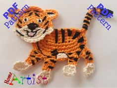 "Tiger Crochet Applique Pattern ~ PURCHASED pattern to be downloaded ~ size 4""H x 4""W but depends on hook & yarn used ~ very cute on a boy's garment, school bag or backpack, hat, etc. ~ CROCHET"