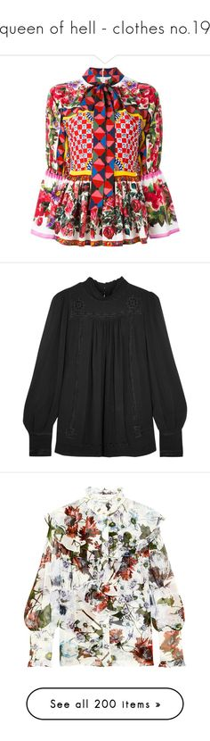"""""""queen of hell - clothes no.19"""" by ms-perry on Polyvore featuring tops, blouses, shirts, long sleeve peplum shirt, holiday shirts, long sleeve blouse, long-sleeve shirt, floral long sleeve shirt, isabel marant top и turtleneck blouse"""