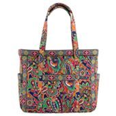 "My favorite pattern right now: Venetian Paisley. This is the ""Get Carried Away"" tote. I think it's fitting and descriptive enough. I like big bags/hags and I cannot lie. Both, true. The first time I went to see my therapist, he noted all of my bags. I said, ""I come with a lot of baggage, literally and figuratively."" Ha."