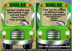 Green School Bus Photo Booth Prop - School Bus Prop, Green School Bus Prop, Bright Green Bus Prop, Photobooth DIY Instant Download PRINTABLE by LMPhotoProps on Etsy