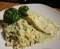 Rezept Wildreis mit Lachs an Basilikumsoße von Thermo-Welt - Rezept der Kategorie Hauptgerichte mit Fisch & Meeresfrüchten