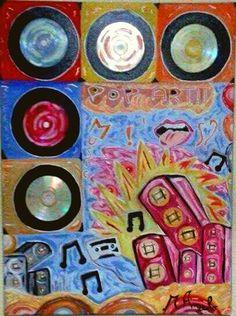 """""""POP ART""""   80x60, Olio su tela, 2015  Angelo Messina.   Opera che rappresenta una Pop Art musicale, una forte energia ne scaturisce dagli accesi colori e dalle luminescenze create dall'utilizzo dei cd musicali, un'opera davvero Originale."""