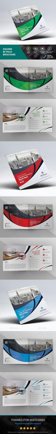 Square Bi-Fold Brochure Template PSD