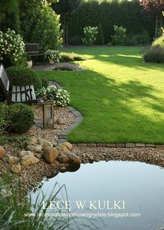 Beautiful yard with a pond by becky - Cottage Garden Pond Back Gardens, Small Gardens, Outdoor Gardens, Pond Landscaping, Ponds Backyard, Patio Pond, Beautiful Gardens, House Beautiful, Beautiful Beautiful