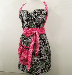 Woman's Sweetheart ApronBlack Floral with by Barb70CraftShop, $32.00