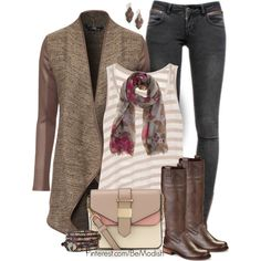 """""""Striped Tank and Cardigan"""" by wulanizer on Polyvore"""