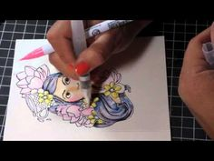 Watercoloring with Zig Clean Color Real Brush Pens and Prima Bloom Girl ...