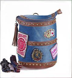 Bardian Patch Tassel Rhinestone Rivet Denim Bucket Multi-ways Bag Blue on BuyTrends.com, only price $43.75