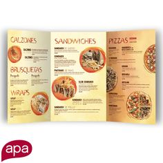 A fun design for a snacks menu. This menu says delicious before the customer even tastes the food.  What does your brand say?  #APACreative #Design #Advertising #Marketing #Brands #Branding #Diseño #Publicidad #Mercadeo #Marca #Menu #MenuDesign #RestaurantDesign #DiseñoDeMenú #DiseñoDeRestaurante