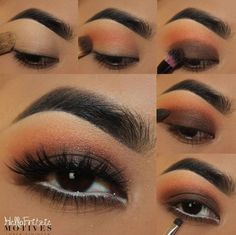 1. apply motives eye base all over lid 2. apply VANILLA all over the lid 3. apply HEATWAVE & DAZED above the crease 4. Apply TWIGGY on the lid 5. apply MOODY on the crease 6. Apply BITTER CHOCOLATE on the lower lash.