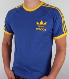 f34daec9ea Adidas Originals Retro 3 Stripes T-shirt Blue Yellow Adidas Vintage Jacket