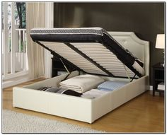 bedroom with white king platform full bed frame storage under bed frame design