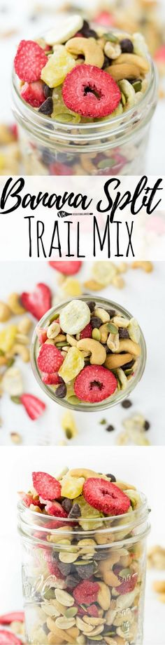 Banana Split Trail Mix recipe featuring 7 easy ingredients including dried bananas, strawberries, pineapple, cashews, peanuts, pumpkins seeds and of course chocolate! A travel snack you'll want for no (Favorite Desserts Dairy Free)