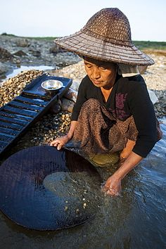 Una mujer birmana lavando  oro en un pequeño arroyo cerca de Putao en el norte, Estado de Kachin, Myanmar (Birmania), Asia