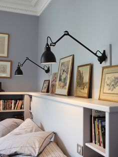 The Lampe Gras wall light attaches to a rail giving it a strong graphical expression. Shop contemporary and designer lighting today at Utility Design. Home Bedroom, Bedroom Wall, Bedroom Decor, Bedroom Corner, Lampe Gras, Wall Sconces, Wall Lamps, Ceiling Lamp, Interior Inspiration