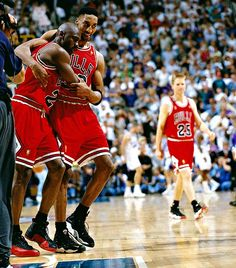 Pippen Holds Up Jordan After 3 Pointer While with the Flu