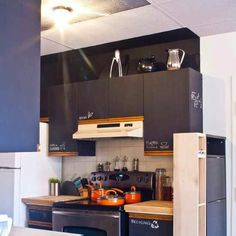 Chalk board doors! Great idea for upcycled cabinets