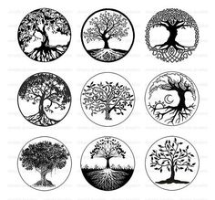 Tree of Life, Black and White Tree Clipart, Digital Download, Printable Download,
