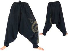 Unisex-Boho-Festival-Hippy-Hippie-Yoga-Baggy-Harem-Pants-Trousers-Drop-crotch