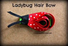 Oh my cuteness! This ladybug hair bow tutorial is so easy to make. Step by step directions. It goes on the must make list! Crafts For Teens To Make, Diy And Crafts, Art Crafts, Kids Crafts, How To Make Hair, How To Make Bows, Ladybug Crafts, Ladybug Party, Hair Bow Tutorial