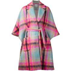 DELPOZO plaid oversized coat found on Polyvore featuring polyvore, fashion, clothing, outerwear, coats, jackets, delpozo, oversized coat, plaid cape and long cape coat