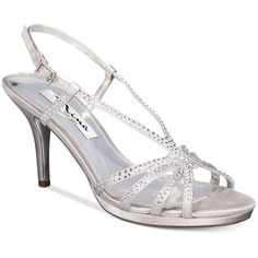 Nina Bobbie Slingback Evening Sandals ($69) ❤ liked on Polyvore featuring shoes, sandals, silver, silver slingback shoes, silver sparkly shoes, sparkly shoes, silver sparkly sandals and silver evening sandals