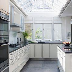 White kitchen, grey floor
