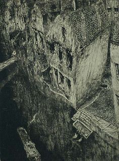 Old Canal (Vieux Canal) (also called, En Ville Morte) -JULES DE BRUYCKERBelgian, (1870-1945) Etching, 1926, LeRoy 139, edition 50. 10 1/2 x 7 3/4 in. Signed and titled in pencil.  De Bruycker was a stellar and eccentric Flemish etcher from Ghent and a great many of his prints are based on his time there.