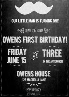 Mustache Chalkboard Birthday Invite- Printable