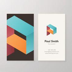 Business card isometric logo letter P vector template. - ilustração de arte em vetor