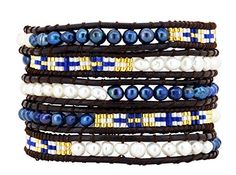 5 Row Dyed Blue White Freshwater Cultured Pearls Wrap Bracelet * Details can be found at http://www.amazon.com/gp/product/B015M3CNCC/?tag=splendidjewelry07-20&pop=220716020427
