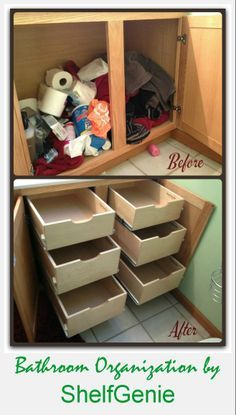 Maintaining #BathroomOrganization isn't easy when your #cabinet doesn't pull its weight. Give your cabinets some organizing muscle with a custom pull out #shelving installation.