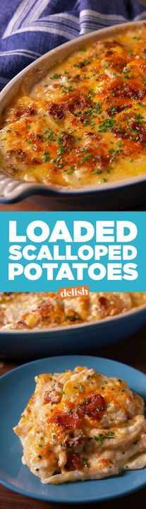 These Loaded Scalloped Potatoes are all we want for Christmas. Get the recipe from Delish.com.