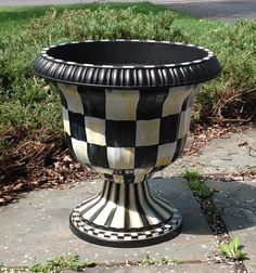 black & white checked garden urns | Urn planter - hand painted - black and white checked - plastic resin