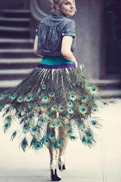 robe en plume de paon
