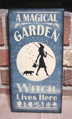 Primitive Style Witch Wood Sign A Magical Garden Witch Lives Here HP Blue   eBay