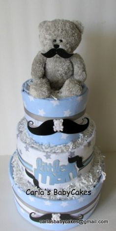 Mustache Diaper Cake; blue and grey baby diaper cake.  Special Request